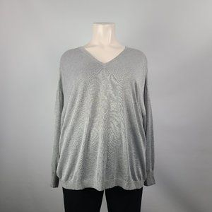In Every Story Silver Metallic Sweater Size 4X